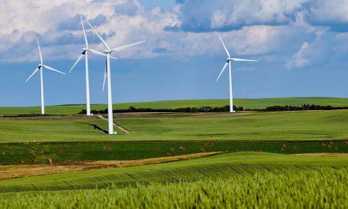 Vindkraftverk på en grön åker