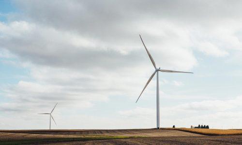Vindkraftverk på en skördad åker