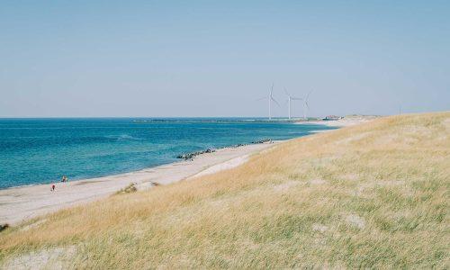 Vindkraftverk vid en strand i Skåne